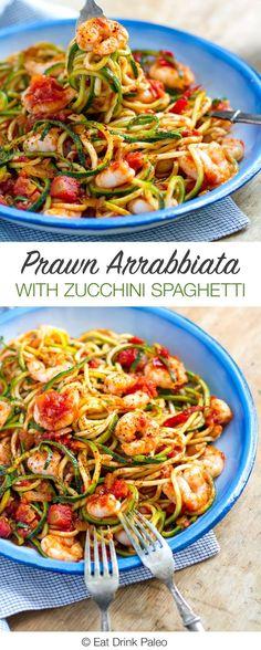 Prawn Arrabbiata With Zucchini Spaghetti - paleo, grain and gluten free, low carb, very nutritious and tasty. Recipe via eatdrinkpaleo.com...