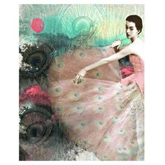Vintage peacock goddess photomontage digital art print peacock high... ($24) via Polyvore featuring home, home decor, wall art, people, black and white wall art, pink home decor, black and white home decor, pink wall art and peacock feather home decor