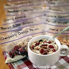Refrigerator Oatmeal--6 no-cook flavors. Make ahead in individual mason jars for a quick, healthy grab-and-go breakfast. www.theyummylife.com/Refrigerator_Oatmeal