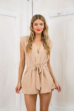 Wake Me Up Plated Playsuit - Pale Terracotta