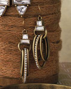 "Modern Maven Earrings | $49 | Brass and Swarovski crystal | 2"" in length | https://mysilpada.com/shop/product/modern-maven-earrings-KRW0029"