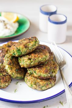 Vegan Greek zucchini fritters are a beautiful mezze dish. Traditionally, they contain eggs and feta, but we've managed to veganise ours to a great effect.