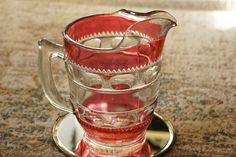 Mid Century Tiffin Kings Crown Thumbprint Ruby Cranberry Water Iced Tea Pitcher by FolkloreAndYore on Etsy