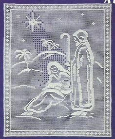 *White Christmas Collection - Blessed Nativity in Filet Crochet Filet Crochet Charts, Crochet Motifs, Thread Crochet, Love Crochet, Hand Crochet, Crochet Lace, Crochet Borders, Crochet Squares, Crochet Christmas Decorations