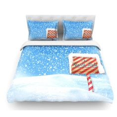 East Urban Home North Pole by Snap Studio Snow Featherweight Duvet Cover Size: