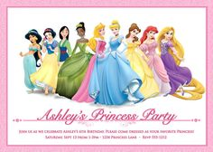 Disney Princess Invitation for Birthday Party - Digital Printable File. $9.99, via Etsy.