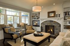 Cozy living rooms with stone fireplaces(52)