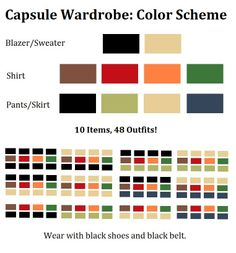 Capsule Wardrobe: Perfect Mix  Match Color Scheme! For creating a minimalist capsule wardrobe with maximum outfit possibilities, I designed a color scheme that allows every item to combine with any other. Also, for best possible result, I only picked colors that work well with my skin.  Next step: Choosing the 10 most versatile, comfortable and stylish items for each color in the scheme. I'd love to see your suggestions!