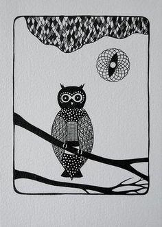 pretty owl drawing
