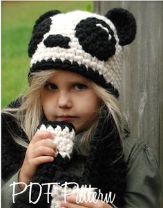 Crochet PATTERNThe Paige Panda Hat/Scarf Toddler by Thevelvetacorn, $5.50