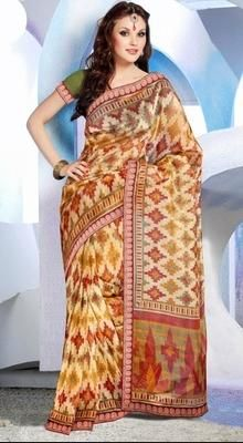 Awesome Brown Printed Saree