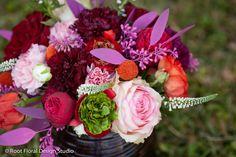 Centerpiece, Wedding, Arrangement, Flowers | Ranunculus, Roses, Seeded Eucalyptus, Carnations, Veronica, Billy Balls | Pink, Orange, Green, Red, Ivory, Purple