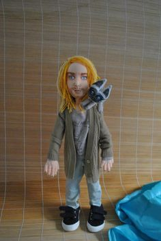 art doll ooak, Kurt Cobain with cat