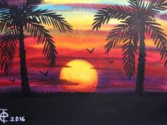WATERCOLOR PAINTING SUNSET WITH PALM TREES - SPEED PAINTING - COLORFUL SKY - SEASCAPE ART - YouTube