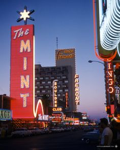 July 1959 on Fremont Street LV Unknown photographer, Kodachome slide scan by VLV. Watch: YESCO film about the design and construction of The Mint sign.