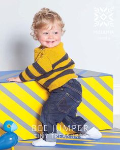 Bee Jumper in MillaMia Naturally Soft Aran - download the pattern on LoveKnitting!