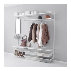 IKEA - ALGOT, Wall upright/shelves/rod, The parts in the ALGOT series can be combined in many different ways and so can easily be adapted to needs and space.You click the brackets into the ALGOT wall uprights wherever you want to have a shelf or accessory – no tools needed.Can also be used in bathrooms and other damp areas indoors.