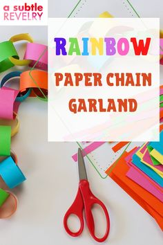 Rainbow paper chain garland is so easy to make. All the kiddos can help make this DIY, no matter their age. It will also brighten up any space to make it a little more fun. Sharing you on this pin ways to use a paper chain garland! #papergarland #rainbowpaper #chaingarland #DIYgarland #DIYpapergarland Bright Paint Colors, Diy Party Hats, Funky Hats, Balloon Backdrop, Rainbow Paper, Paper Chains, Ice Dyeing, Unique Wallpaper, Colourful Balloons