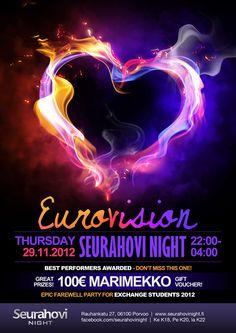 Eurovision 29/11/2012 @Seurahovi Night Juliste ja muut mainosmateriaalit