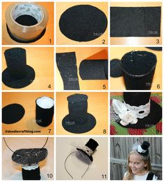 How to make a Mini Top Hat Headband Electric Daisy Festival, Clown Hat, Steampunk Hat, Hat Tutorial, Diy Tops, Crazy Hats, Ugly Sweater Party, Dapper Day, Diy Headband