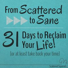 From Scattered to Sane - 31 Days to Reclaim Your Life, or, at the very least take back your time, is a series dedicated to building strong time management routines,