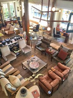 A birds eye view of our store, ready for the Fall season with sumptuous leather and Mid-Century antiques. MONC XIII Sag Harbor. http://monc13.com/
