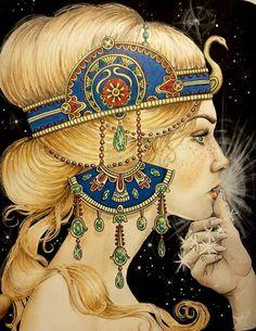 Dagdrömmar - Daydreams | Hanna Karlzon   #hannakarlzon #dagdrommar Hanna Karlzon, Colored Pencil Techniques, Markova, Fantasy Paintings, Colouring Techniques, Polychromos, Coloured Pencils, Arte Pop, Coloring Book Pages