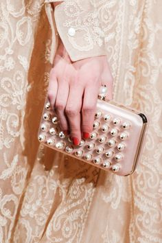 Neutral Lace Dress with Studded Peals #clutch for Sensual Romantic Winter I Valentino Fall Winter 2013 #fall2013 #trendy #neutral