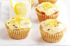 Gluten-free banana cupcakes with passionfruit icing - @Anna Hartman.com