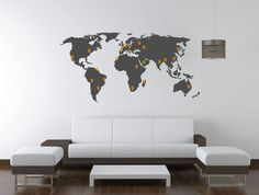 World Map Decal for Home , Retail , or Office. Extra Large World Map Wall Decal - 0111 Wall Decal Sticker, Wall Stickers, Vinyl Art, Vinyl Decals, Wall Vinyl, World Map Wall Decal, Coffee Room, Badge Design, Gadgets