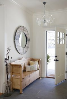 eco-friendly-home-entryway-slate, love bench & decor