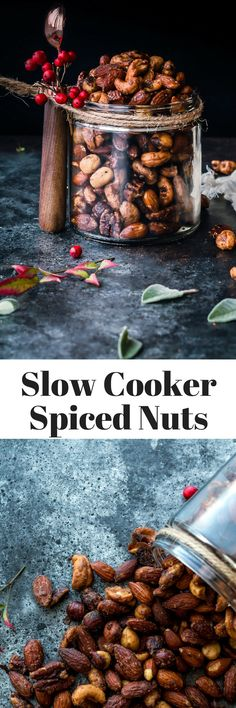 slow cooker spiced nuts recipe. easy slow cooker holiday appetizer or snack recipe
