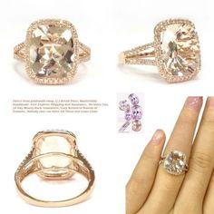 Cushion Morganite Engagement Ring Pave Diamond Wedding14K Rose Gold Split Shank10x12mm
