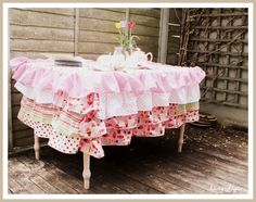 Fun DIY table cloth for a girly girl party or just for tea in the garden!