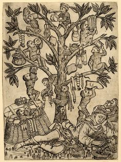 The monkeys and the pedlar; in the foreground a pedlar is sleeping under a tree on which monkeys are playing with goods taken from his basket; other monkeys are on ground. c.1470-90 Engraving