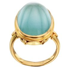 Steven Battelle Aquamarine Cabochon Ring with Hand Carving