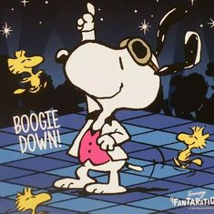 Boogie Down! Cartoon Shows, Cute Cartoon, Cartoon Characters, Snoopy Love, Snoopy And Woodstock, Snoopy Quotes, Peanuts Quotes, Boogie Woogie, Charlie Brown And Snoopy