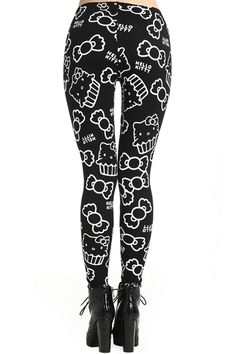 Cat Pattern Black Leggings #Romwe