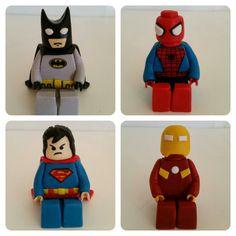 Fondant Lego cake toppers. Batman, Superman, Spiderman, Iron Man. www.facebook.com/icedmagiccreations