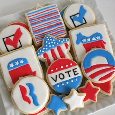 Cassidy's Cakery: Election Day Cookies Blue Cookies, Iced Cookies, Cut Out Cookies, Yummy Cookies, Election Night Party, Election Day, Cookie Designs, Cookie Ideas, Nibbles For Party