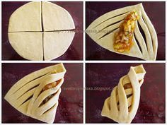 Cool way to wrap pastries Pastry Recipes, Cooking Recipes, Just Desserts, Dessert Recipes, Pastry Design, Bread Shaping, Bread Art, Tasty, Yummy Food
