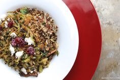Yummy with lots of Protein! Brussels Sprouts and Mushroom Ragout with Crispy Quinoa is the perfect flavor rich and savory vegetarian dish. #quinoarecipes, #quinoa, #vegetarian, #healthyrecipes, #meatlessmonday