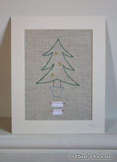 """Christmas Tree free-motion machine embroidery, original 8 x 10"""" by PinkCouchUK, £26.00"""