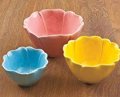 Set of 3 Flower Petal Bowls