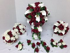 #Large brides teardrop bouquet burgundy rose ivory calla #lillie #bridesmaid posy, View more on the LINK: http://www.zeppy.io/product/gb/2/261566695810/