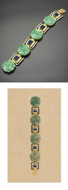 SANDOZ - AN ART DECO JADE, LAPIS LAZULI AND ENAMEL BRACELET, 1920S. Designed as a series of four circular jade plaques intricately carved to depict flowering foliage interspersed by four square links of stylised buckle design with black enamel detailing and lapis lazuli centre accents, with French assay marks for gold, signed Gérard Sandoz. #Sandoz #ArtDeco #bracelet