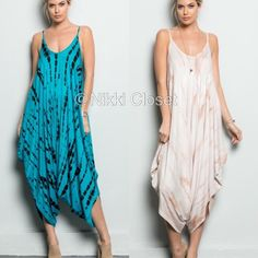 New Harem oversized tie dye Romper jumpsuit  dress ❌PLEASE DON'T BUY THIS LISTING, COMMENT ON SIZE NEEDED FOR SEPARATE LISTING. PRICE IS FIRM UNLESS BUNDLED ❌.  New retails. Harem tie dye jumpsuit romper play suit  dress. Spaghetti straps.oversized loose fit dress..Very comfy and super sexy. Fabric content 95% Rayon and 5% spandex ...Only blue/black..Small medium and large. Boutique Pants Jumpsuits & Rompers