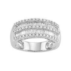 10k White Gold 1 Carat T.W. Diamond Multi Row Ring, Women's, Size: 8