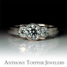 14K Three Stone Bezel-Set Diamond Ring