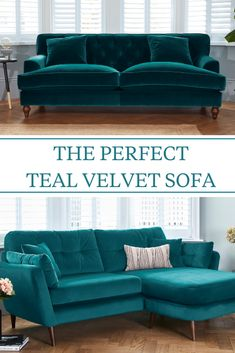 Teal sofas, teal velvet sofas even are the perfect home decor piece for the autumn and winter. It's the ideal colour and becoming so popular. Rich, decadent and luxurious, it works in modern homes and more traditional decor too. What's not to love! #darlingsofchelsea #tealsofa #bluesofa #tealvelvetsofa #velvetsofa